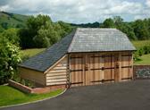 An oak garage in Wiltshire