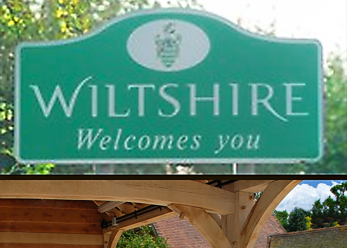 Wiltshire sign post and oak beam