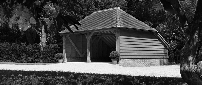 open fronted two bay oak garage hampshire