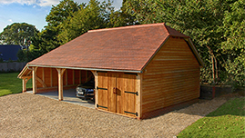 Traditional Oak Framed Garage Building in Wiltshire
