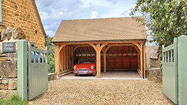 Traditional Oak Framed Garage Building in Gloucestershire