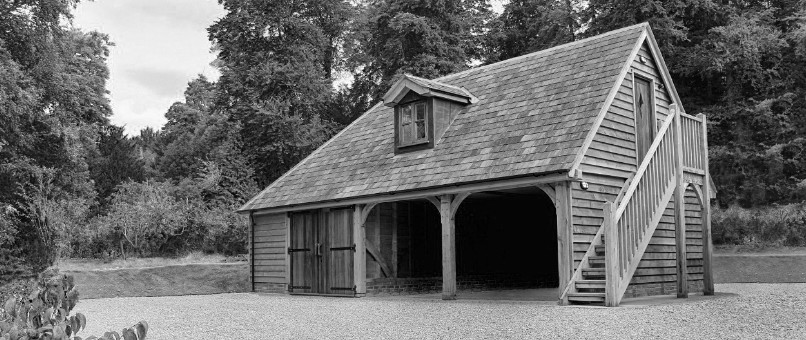 Oak garage barn with accommodation above.